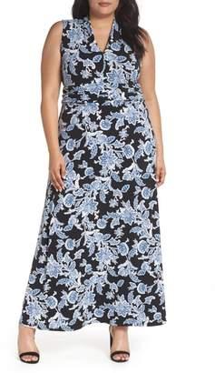 Vince Camuto Woodblock Floral Maxi Dress