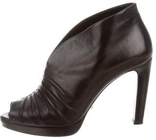 pradaPrada Leather Ruched Booties