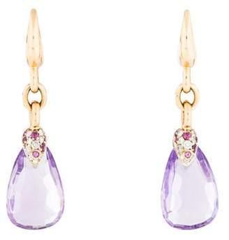 Pomellato 18K Amethyst & Diamond Drop Earrings