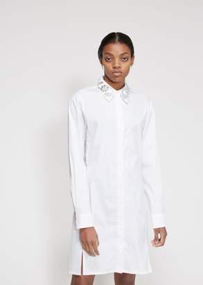 Paco Rabanne Long Sleeve Poplin Collared Dress