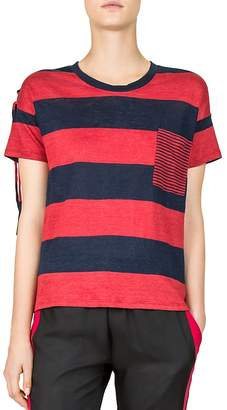 The Kooples Striped Lace-Up Shoulder Tee