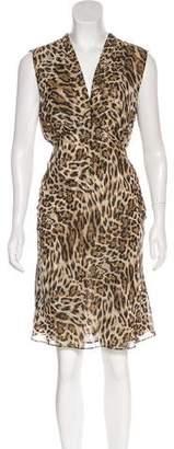 L'Agence Leopard Print Knee-Length Dress