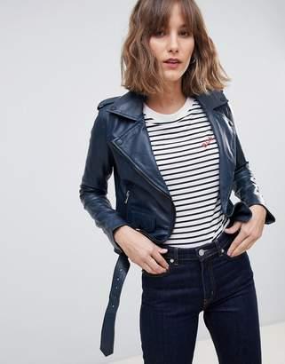 Barney's Originals coloured leather biker jacket