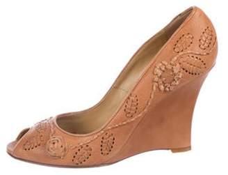 Valentino Peep-Toe Leather Wedges Peep-Toe Leather Wedges