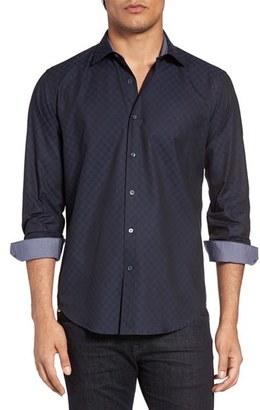 Men's Bugatchi Shaped Fit Grid Print Sport Shirt $149 thestylecure.com