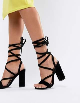 Public Desire Julia black block heel tie up sandals