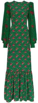 The Vampire's Wife festival floral jacquard ruffle-trim dress