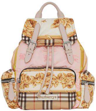 Burberry Medium Rucksack Silk-Print Puffer Backpack