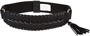 Susan Graver Stretch Belt with Faux Leather andTassel