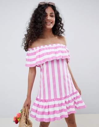 Asos DESIGN Off Shoulder Sundress With Ruffle Hem In Deckchair Stripe