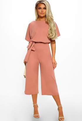 f6de8c4fb674 Pink Boutique Always Chic Rose Pink Belted Culotte Jumpsuit
