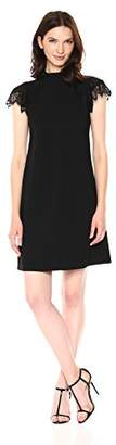 Nanette Lepore Nanette Women's Cap SLV A-line Crepe Dress W/high Neck & Lace Trim