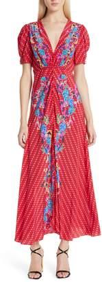 Saloni Lea Print Silk Maxi Dress