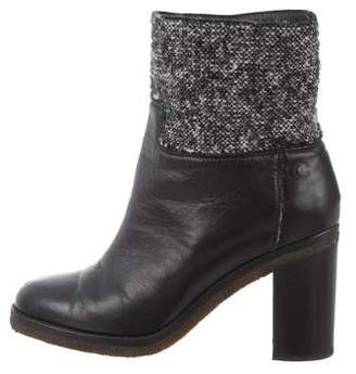 Chanel Tweed-Accented High-Heel Boots