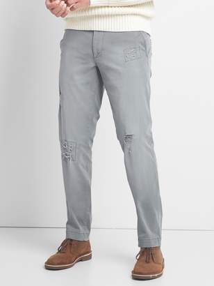 Gap Destructed Khakis in Slim Fit with GapFlex