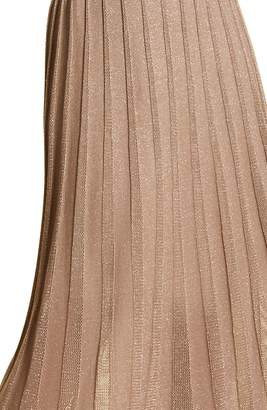Marina Rinaldi Grace Metallic Pleated Knit Midi Skirt