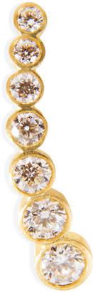 Sophie Bille Brahe Gold/White Diamond Petite Croissant de Lune Earring