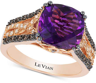 LeVian Le Vian Amethyst (3-1/3 ct. t.w.) & Diamond (1/3 ct. t.w.) Ring in 14k Rose Gold
