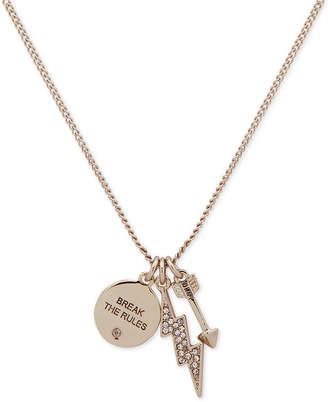 "DKNY Gold-Tone Triple Charm Crystal ""Break the Rules"" Pendant Necklace, 16"" + 3"" extender"