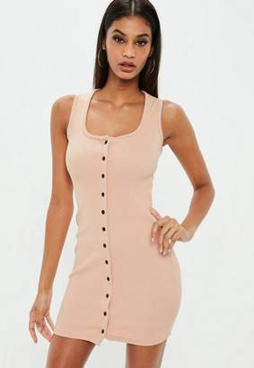 Missguided Rose Ribbed Button Front Bodycon Dress