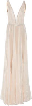 J. Mendel Kaia Metallic Silk-Chiffon Gown