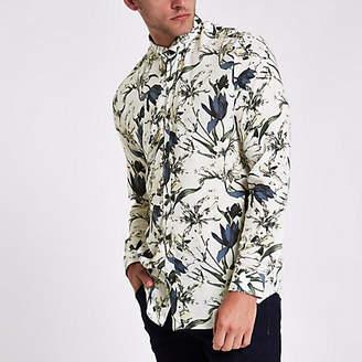 River Island Ecru floral slim fit long sleeve shirt