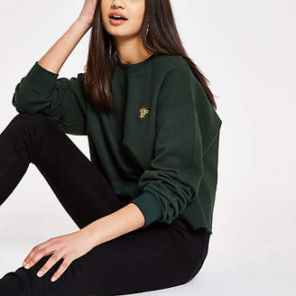 River Island Womens Khaki wasp embroidered sweatshirt