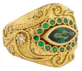 Aurelie Bidermann 18K Tourmaline, Tsavorite & Diamond Cashmere Ring