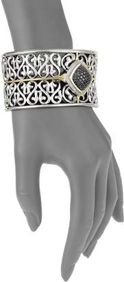 Charles Krypell Ivy Sterling Silver, 18K Yellow Gold, Black Diamond & Diamond Cuff Bracelet