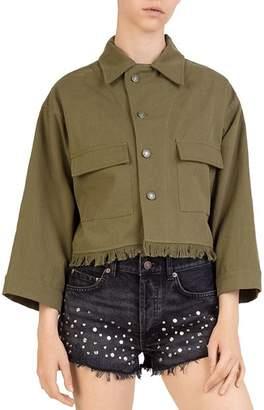 The Kooples Back Embroidered Cropped Frayed Denim Jacket