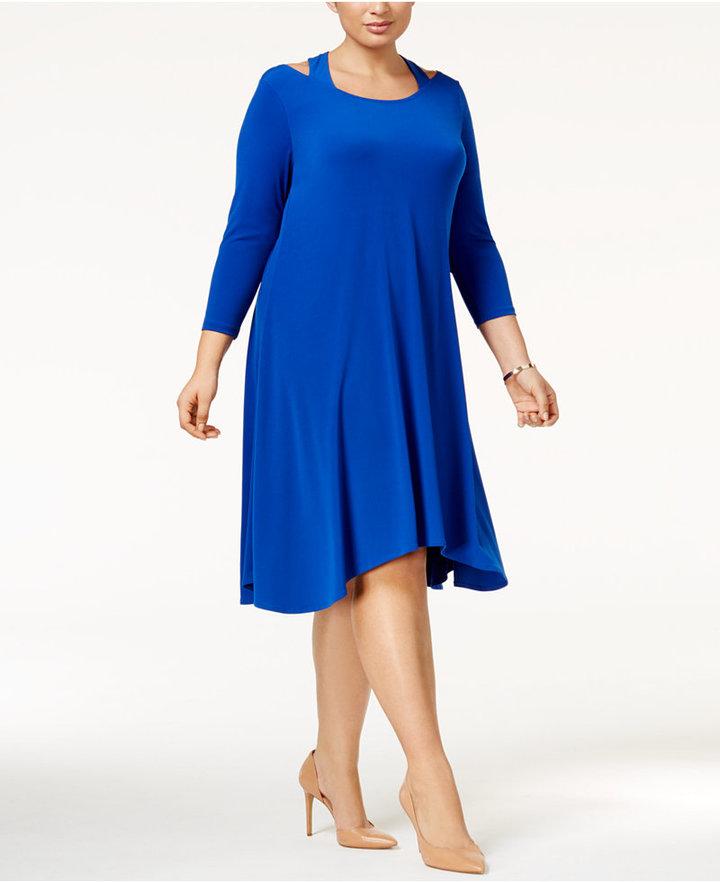AlfaniAlfani Plus Size Cutout Fit & Flare Dress, Only at Macy's