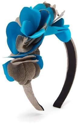 Benoit Missolin Albertine Linen Blend Headband - Womens - Blue