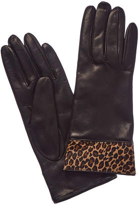Portolano Black Cashmere-Lined Leather Gloves
