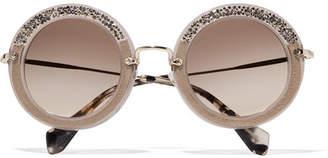 Miu Miu - Embellished Round-frame Acetate Sunglasses - Stone $405 thestylecure.com
