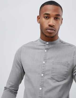 Asos DESIGN stretch slim denim shirt in light gray