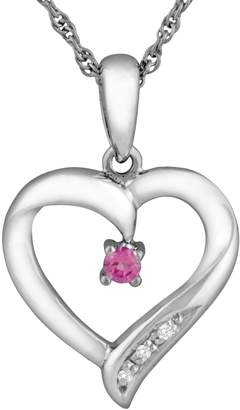 Sterling Silver Lab-Created Pink Sapphire Heart Pendant