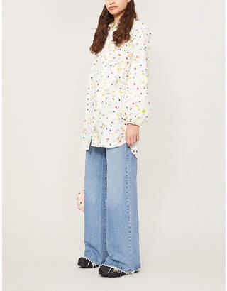 Ganni Floral-print cotton-poplin wrap shirt