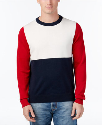 Tommy Hilfiger Men's Colorblocked Crew-Neck Sweater $99 thestylecure.com