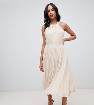 Asos Design DESIGN pleated bodice halter midi dress