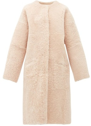 Raey Long Line Reversible Shearling Coat - Womens - Nude