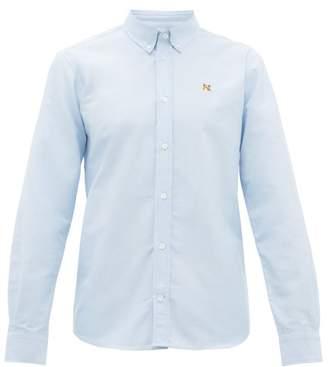 MAISON KITSUNÉ Fox Embroidered Cotton Oxford Shirt - Mens - Light Blue