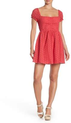 Taylor & Sage Eyelet Inset Floral Pattern Dress