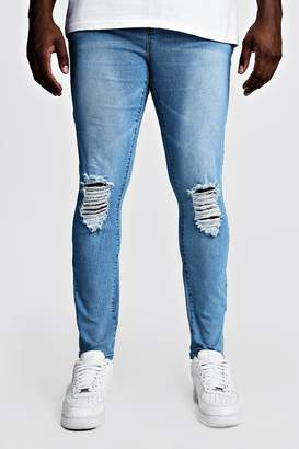 boohoo Big & Tall Skinny Fit Jeans With Ripped Knees