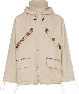 Paria Farzaneh Paisley print trim hooded cotton rain jacket