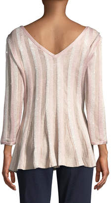 St. John Ombre Sequin Stripe Pleated Top