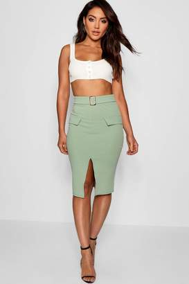 boohoo Pocket Front Mock Horn Belt Split Midi Skirt