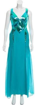 Versace Leather-Trimmed Silk Evening Dress