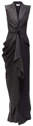 Alexander McQueen Draped Satin And Twill Gown - Womens - Black