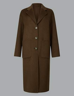 Marks and Spencer Single Breasted Coat with Wool