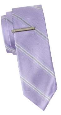Calvin Klein Striped Slim Silk Tie